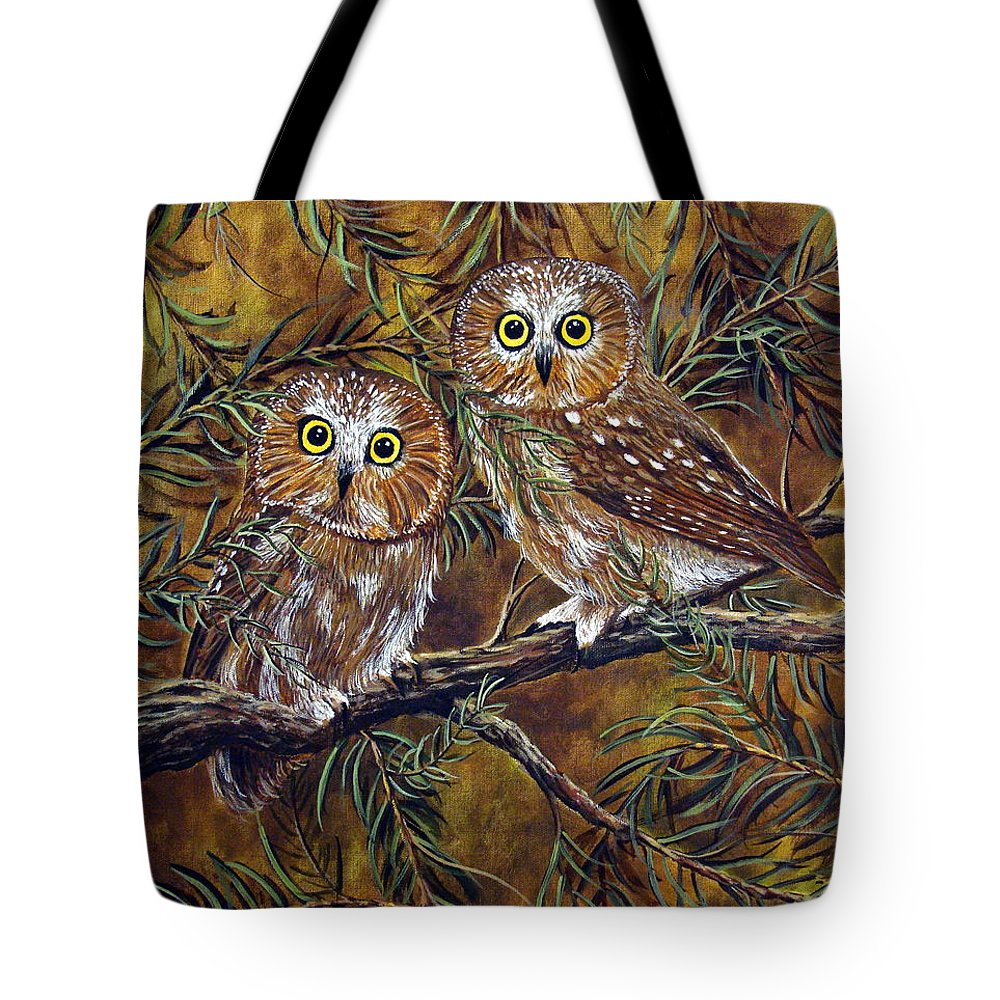 Owls Tote Bag featuring the painting Branch Buddies by David G Paul
