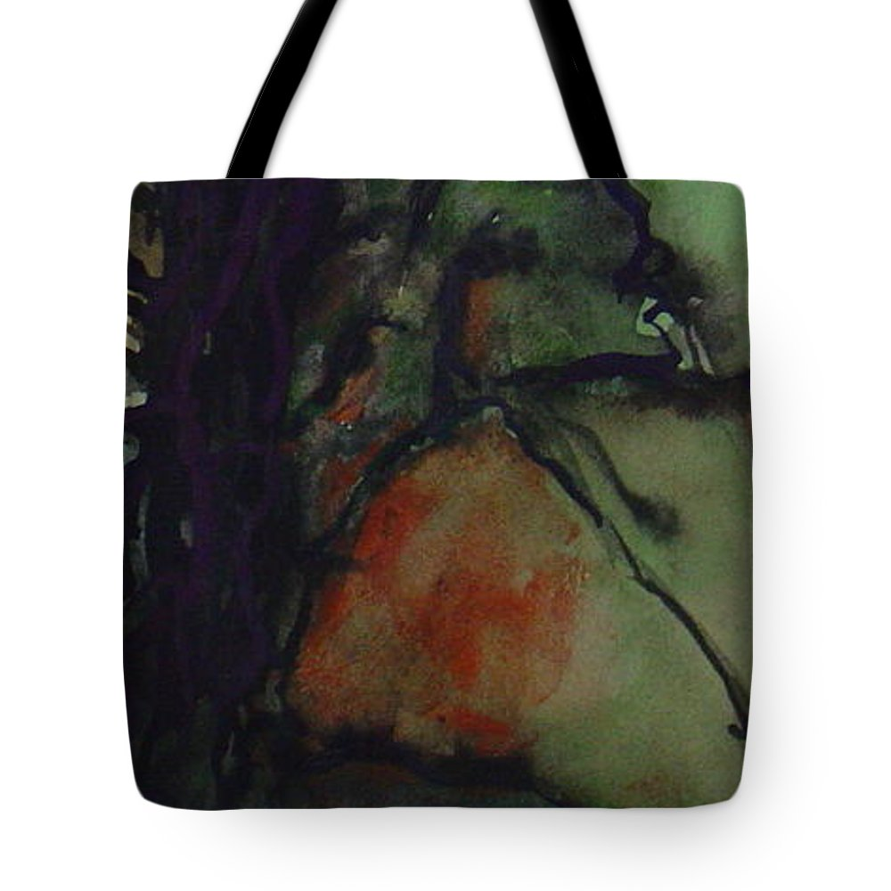 Tree Landscape Abstract Watercolor Original Blue Green Tote Bag featuring the painting Branching by Leila Atkinson