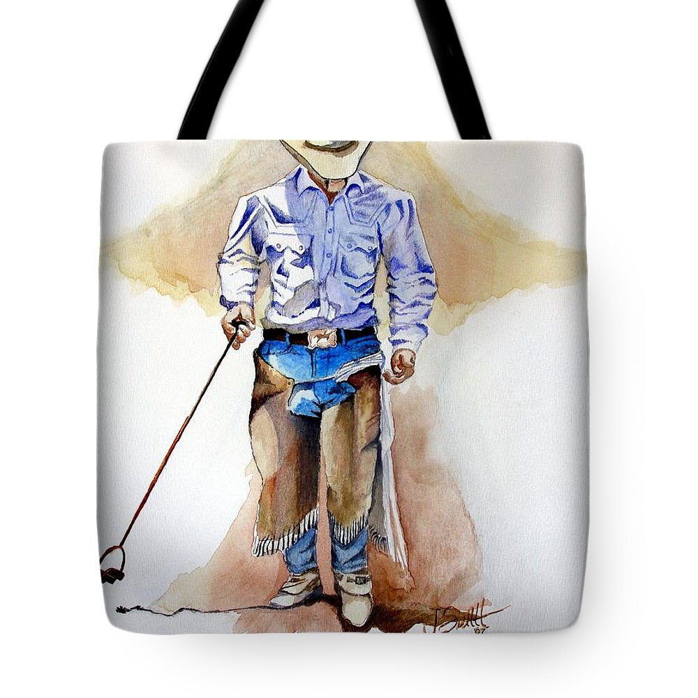 Western Tote Bag featuring the painting Branding Blisters by Jimmy Smith