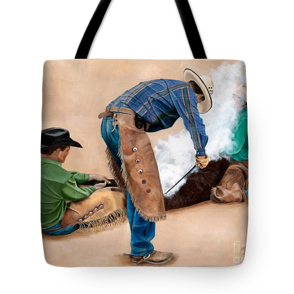 Art Tote Bag featuring the painting Branding Day by Mary Rogers