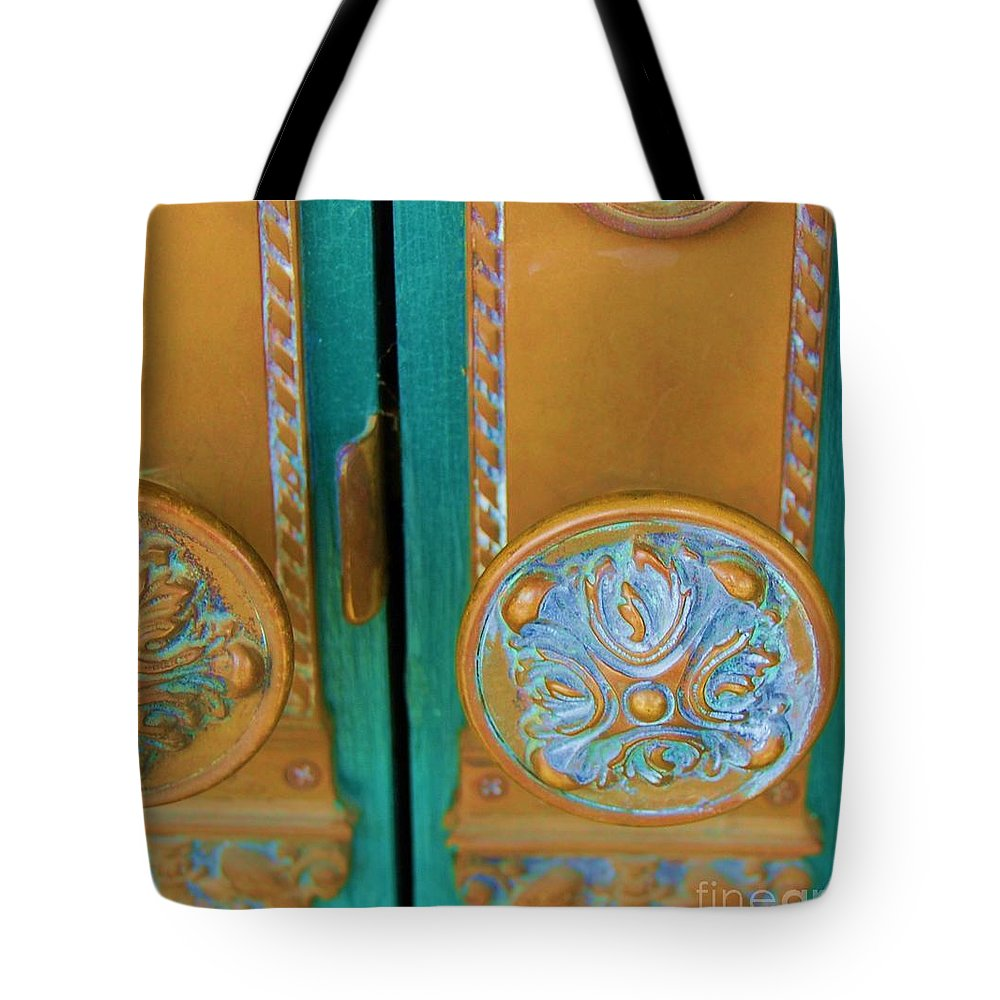 Door Tote Bag featuring the photograph Brass Is Green by Debbi Granruth