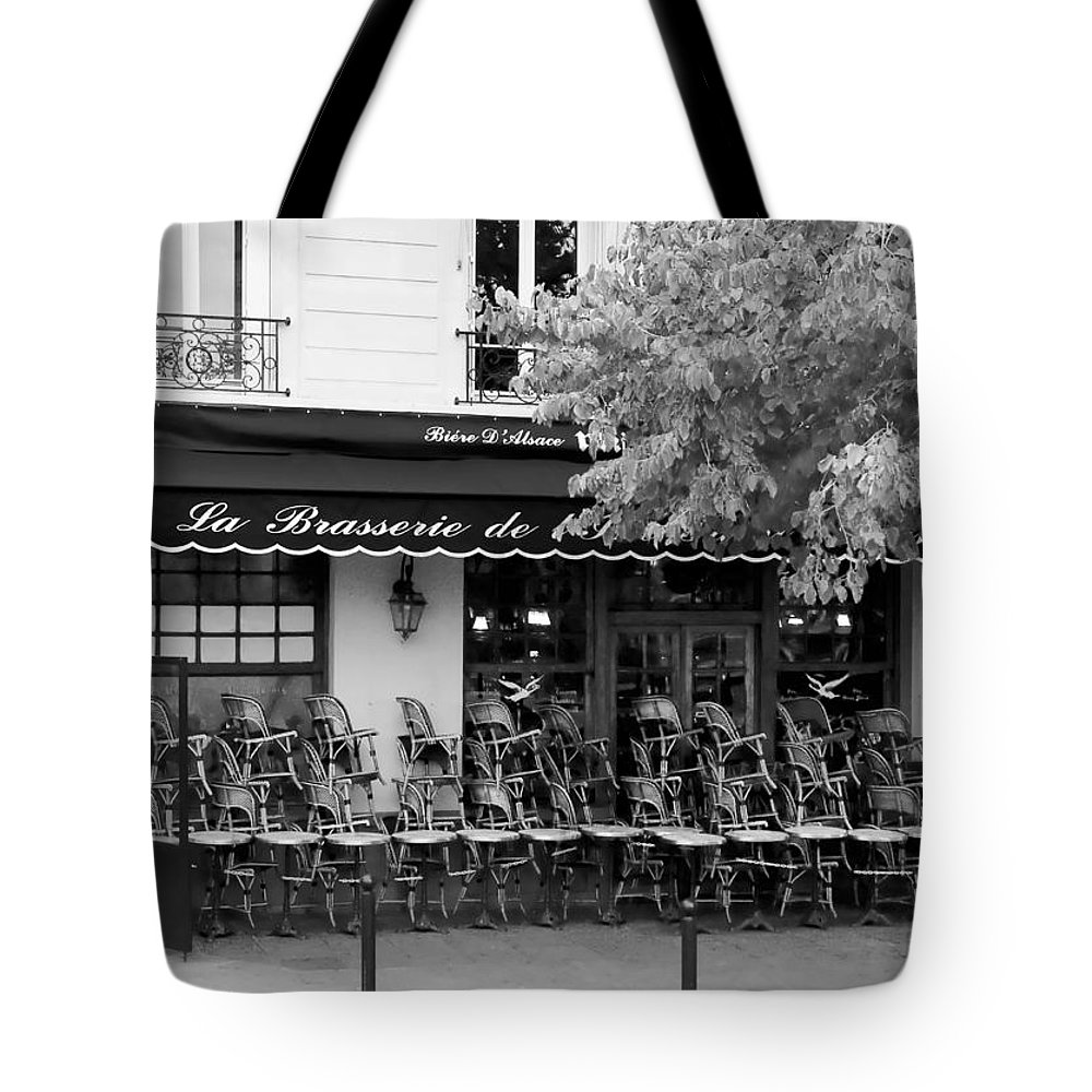 Paris Tote Bag featuring the photograph Brasserie Early Morning by Mick Burkey