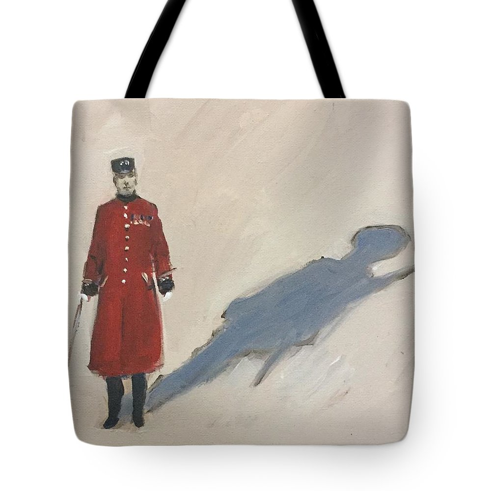 Royal Tote Bag featuring the painting Bravery Has A Shadow - The Chelsea Pensioner by Soren Hawkes M A