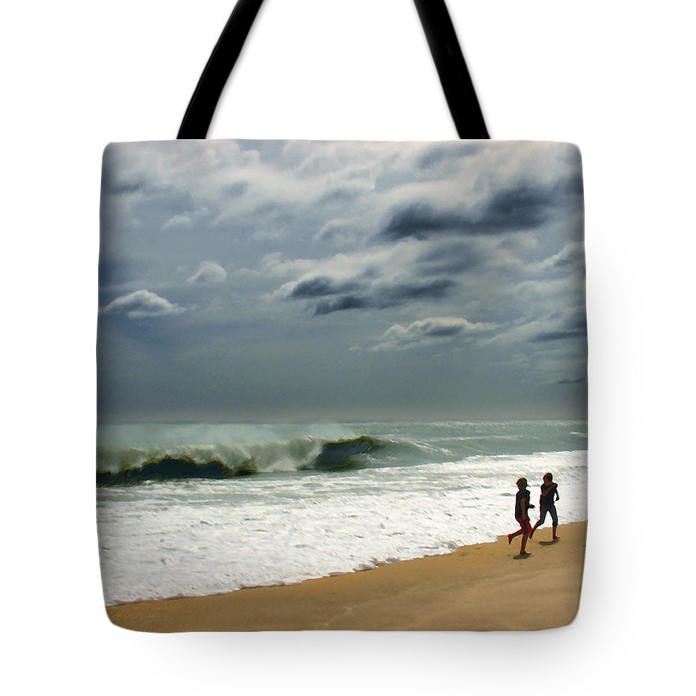Beach Tote Bag featuring the photograph Braving the Storm by Steve Karol