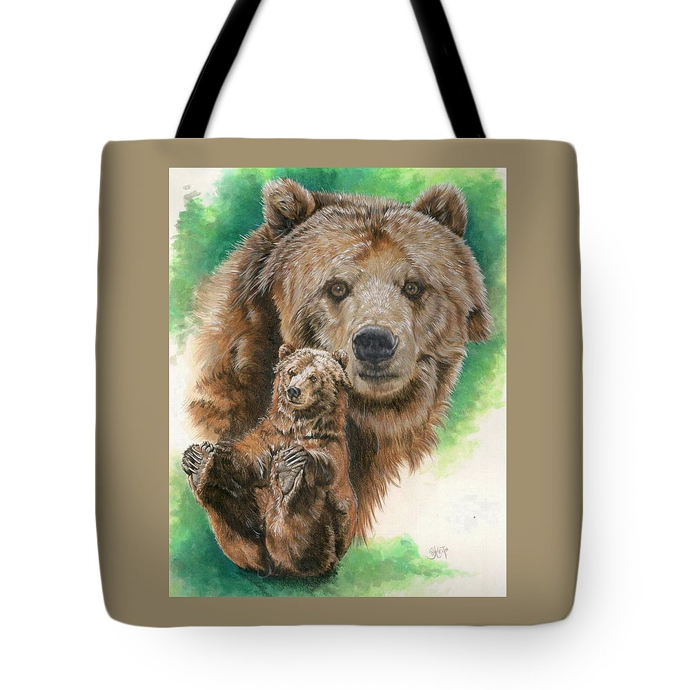 Bear Tote Bag featuring the mixed media Brawny by Barbara Keith