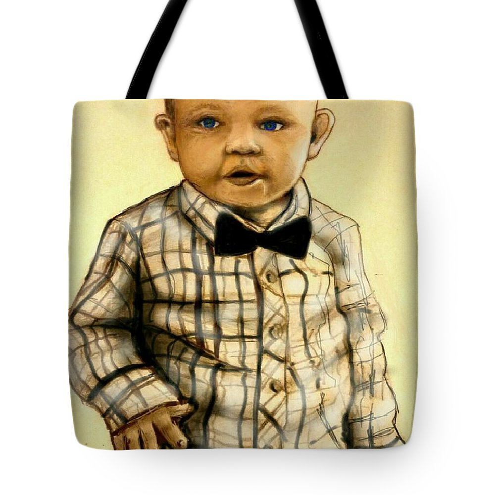 Tote Bag featuring the mixed media Brayden Christopher Stratton by Michael Schimank
