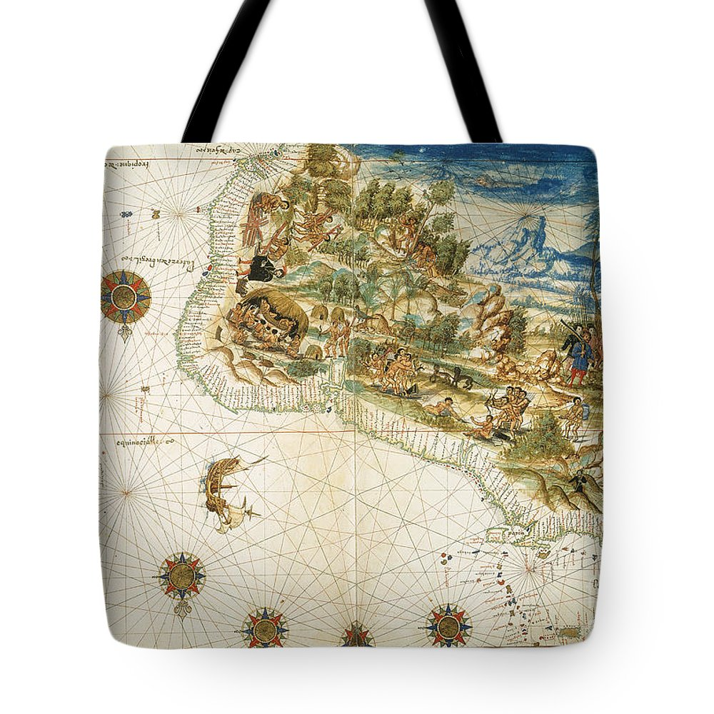 1547 Tote Bag featuring the photograph Brazil: Map And Native Indians by Granger