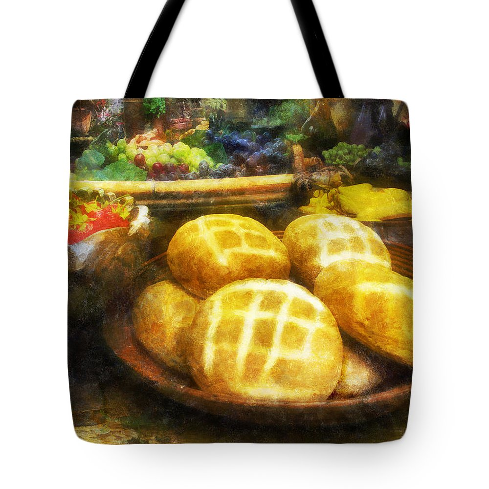 Bread; Loaf; Loaves; Food; Fruit; Still-life; Grapes Tote Bag featuring the digital art Bread Table by Francesa Miller