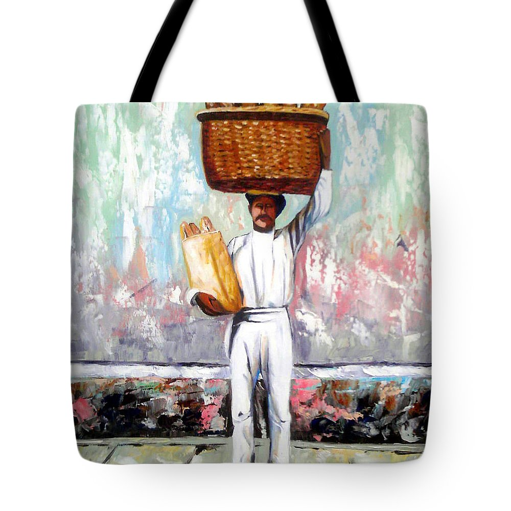 Bread Tote Bag featuring the painting Breadman by Jose Manuel Abraham