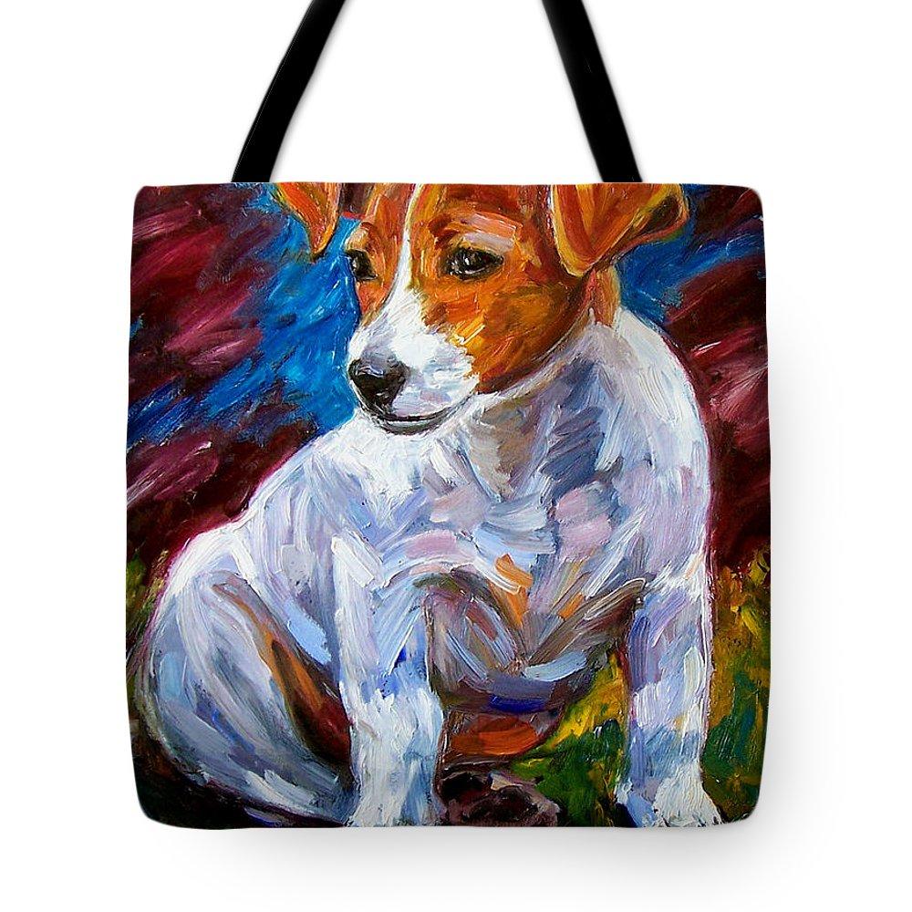 Dog Art Tote Bag featuring the painting Break Time by Debra Hurd