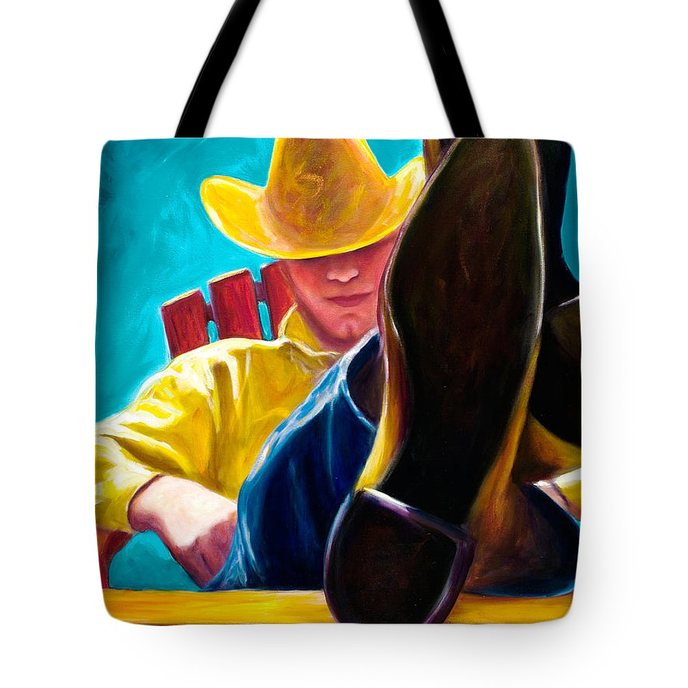 Western Tote Bag featuring the painting Break Time by Shannon Grissom
