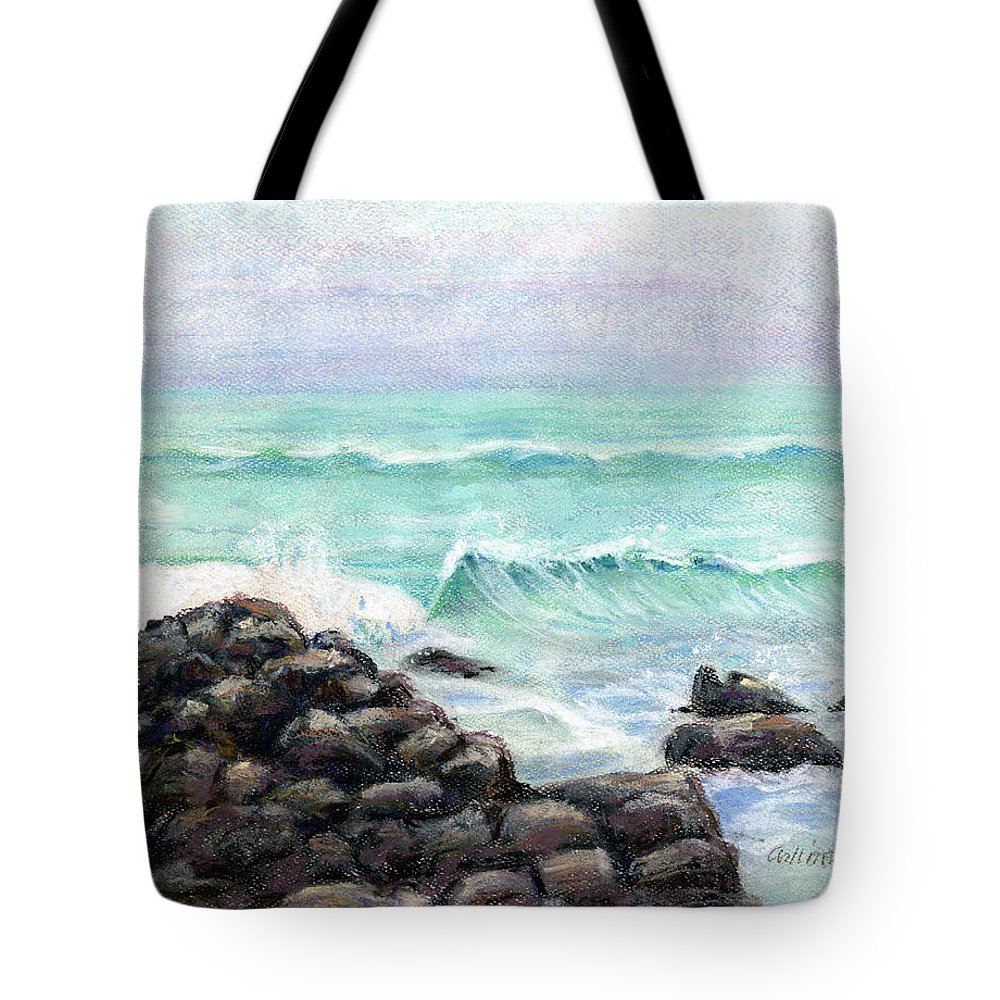 Breakers Tote Bag featuring the pastel Breakers by Arline Wagner