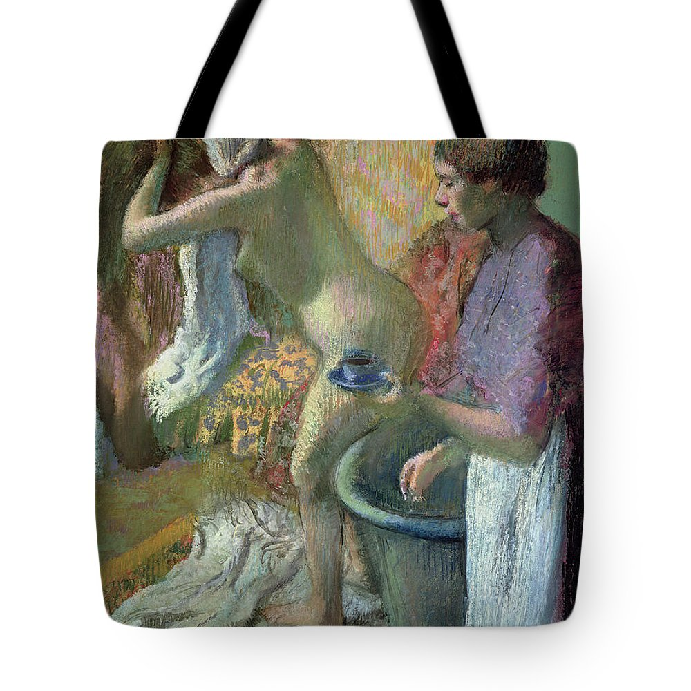 Breakfast Tote Bag featuring the pastel Breakfast After A Bath by Edgar Degas
