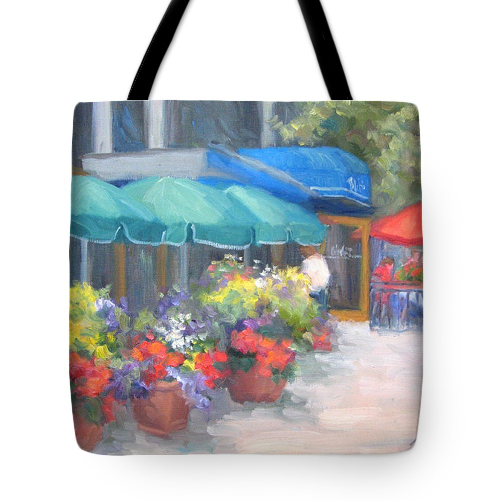 Cafe Tote Bag featuring the painting Breakfast At Blus by Bunny Oliver