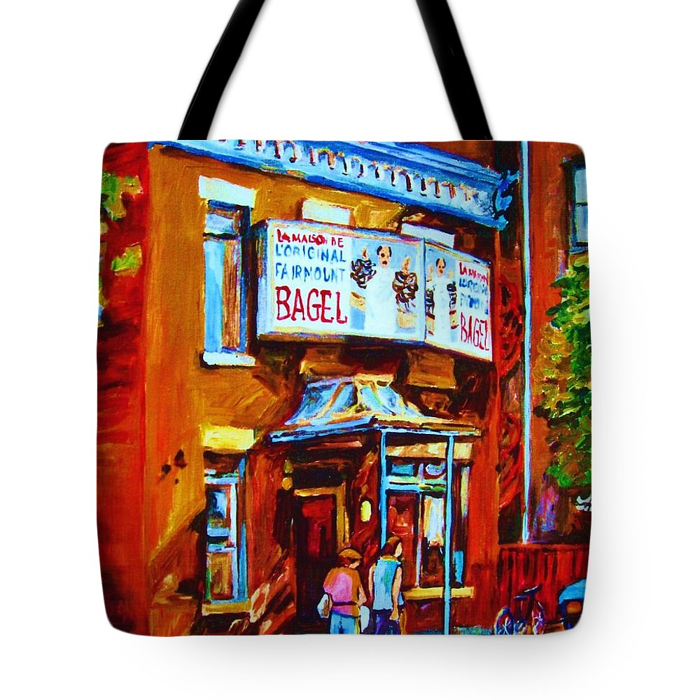 Fairmount Bagel Tote Bag featuring the painting Breakfast At The Bagel Cafe by Carole Spandau