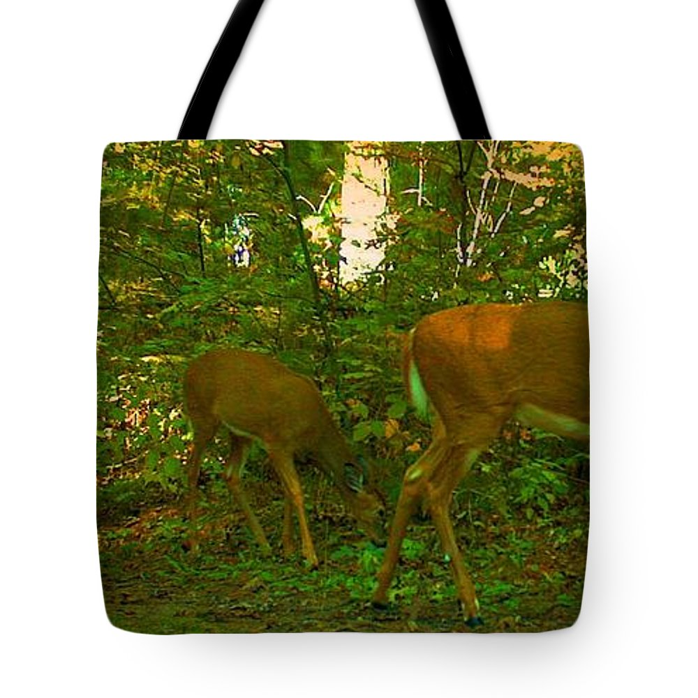 Deer Tote Bag featuring the photograph Breakfast by Eric Langley