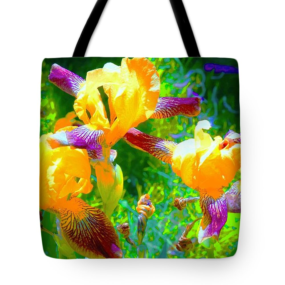 Breakfast Time Tote Bag featuring the photograph Breakfast Time Oj Irises by Tim G Ross