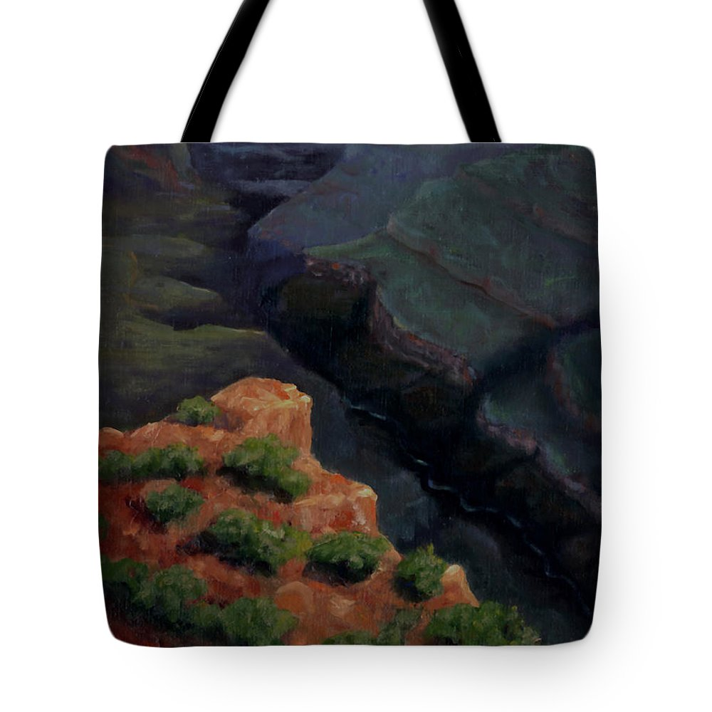 Grand Canyon Tote Bag featuring the painting Breaking Dawn by Linda Hiller