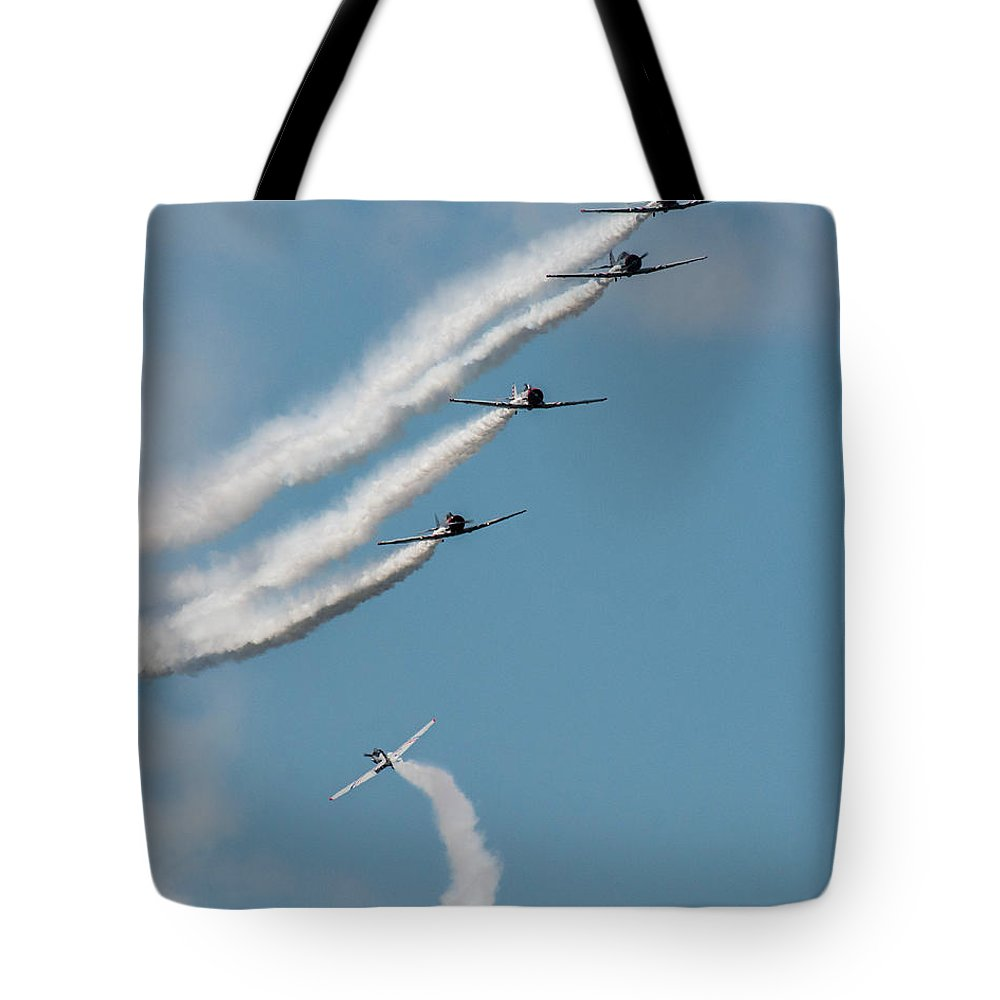 Airplanes Tote Bag featuring the photograph Breaking Formation by David Lockwood