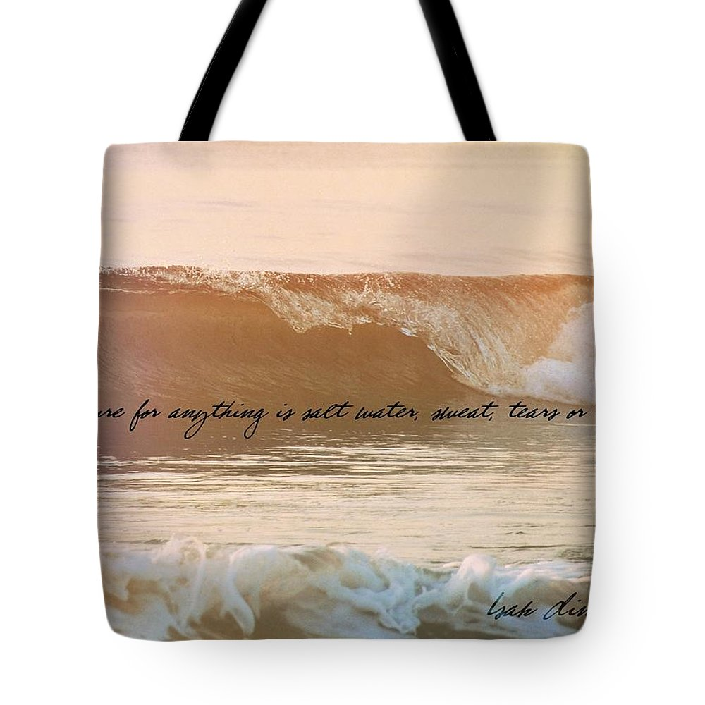 Ocean Tote Bag featuring the photograph Breaking Wave Quote by JAMART Photography