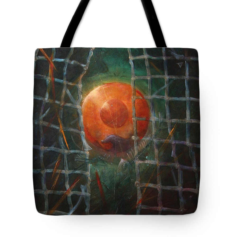 Orange Tote Bag featuring the painting Breakthrough by Darko Topalski