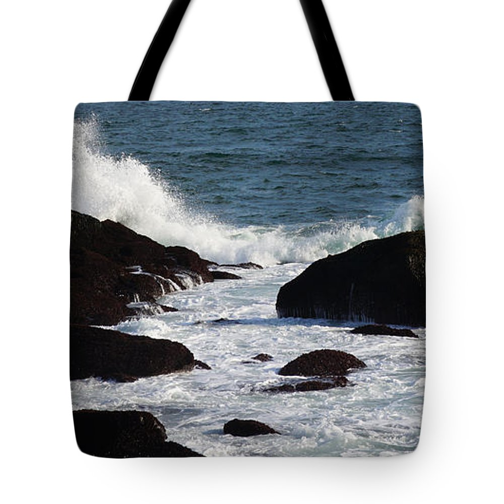 Waves Tote Bag featuring the photograph Breakwater by Brandi Elaine Crochet