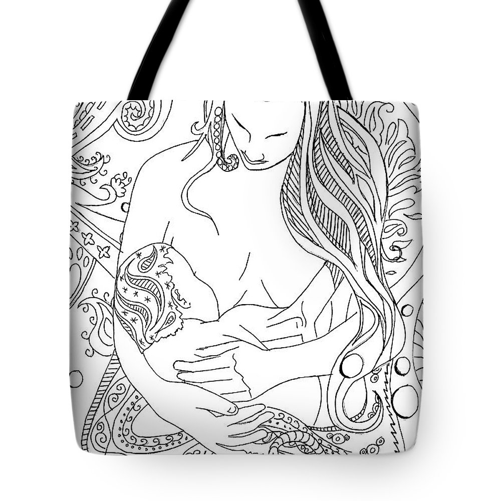 Birth Tote Bag featuring the drawing Breastfeeding Is Beautiful by Kate Evans