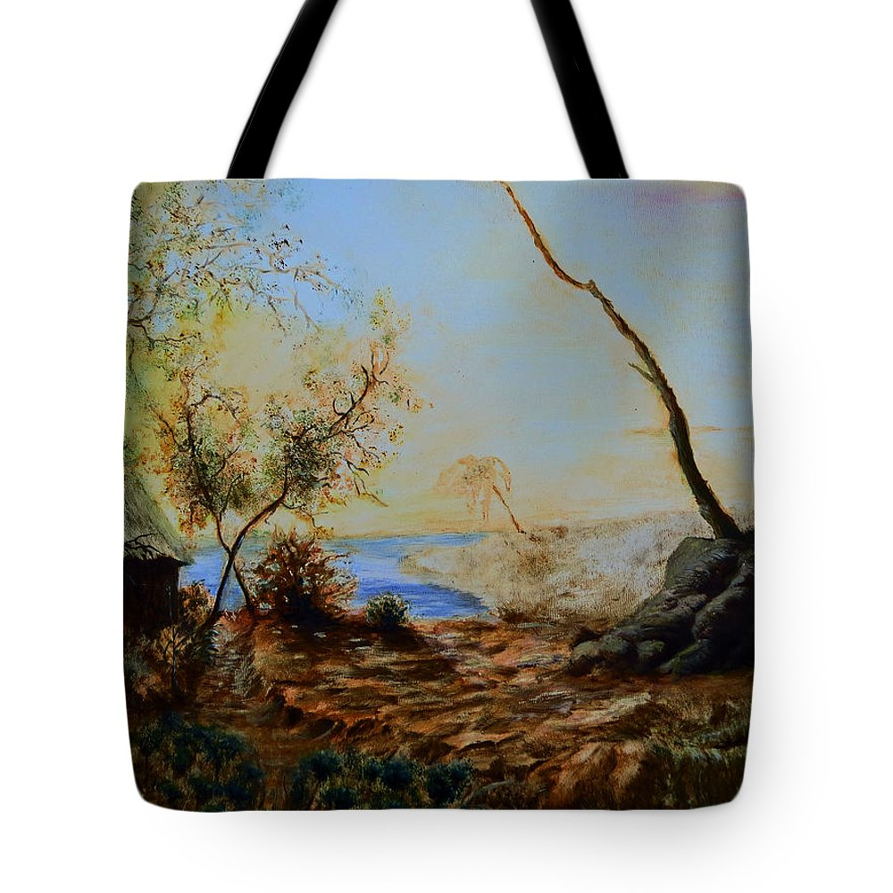 Hill Tote Bag featuring the painting Breathing Freely by Abey Mekonnen