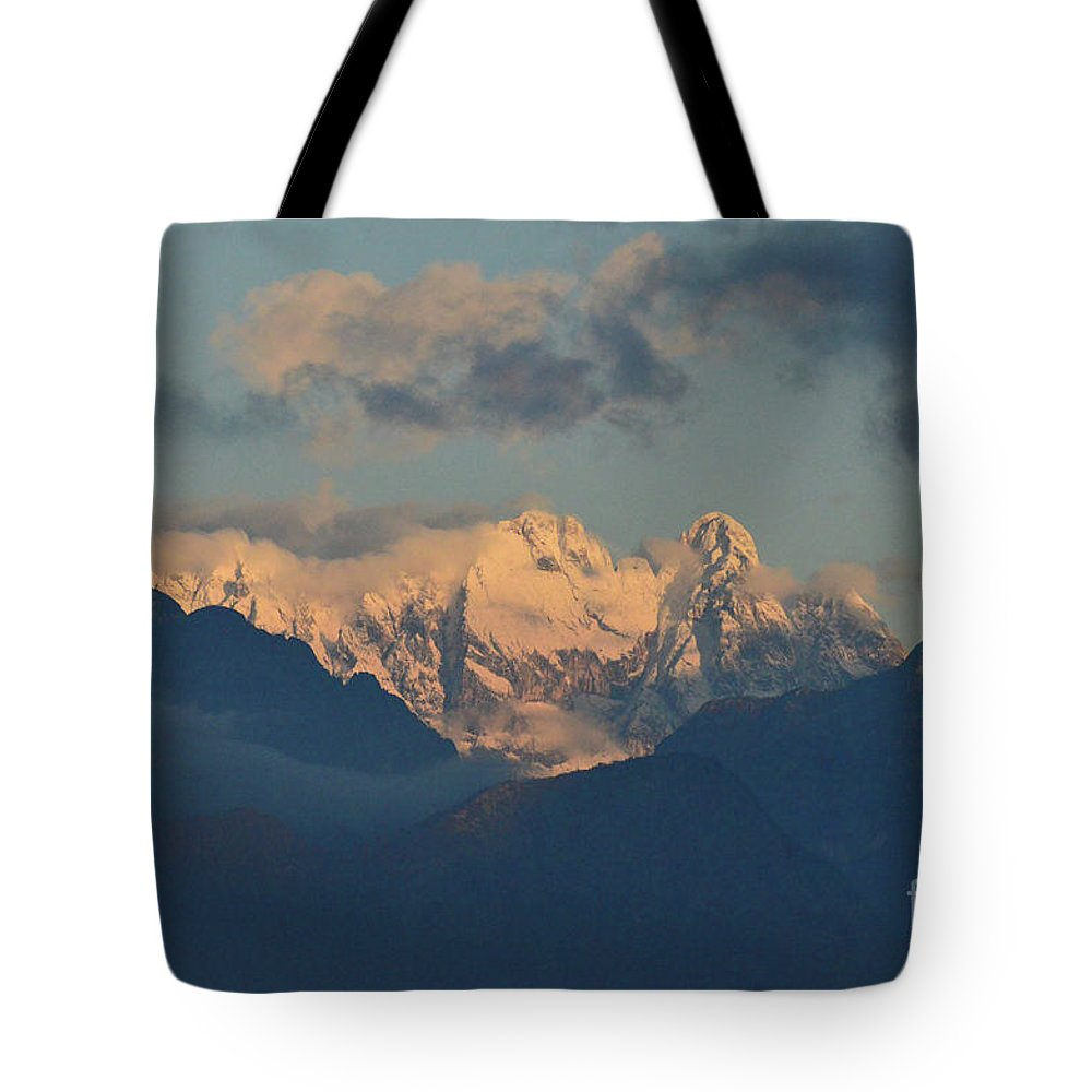 Mountains Tote Bag featuring the photograph Breathtaking View Of The Italian Alps With A Cloudy Sky by DejaVu Designs