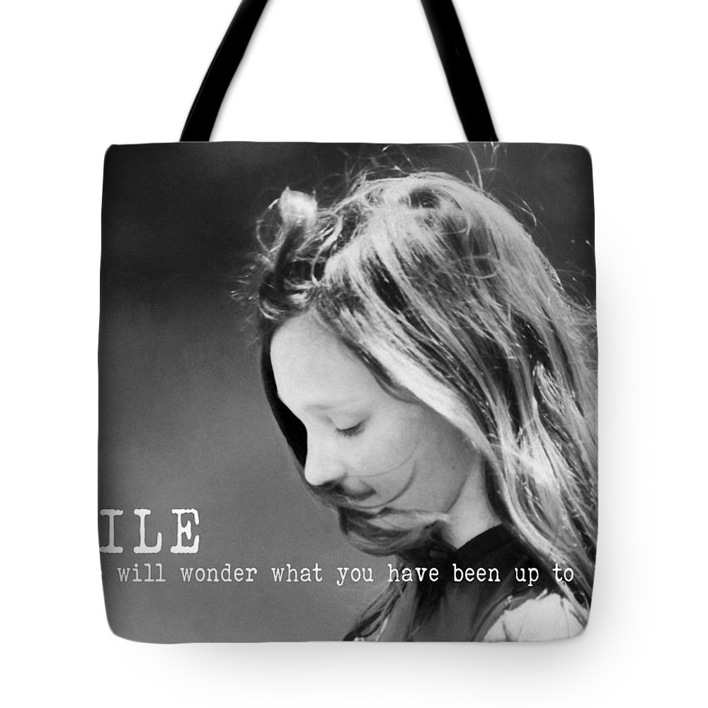 Girl Tote Bag featuring the photograph Breeze Quote by JAMART Photography