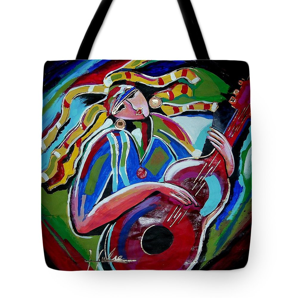Music Tote Bag featuring the painting Breezy by Gina Hulse