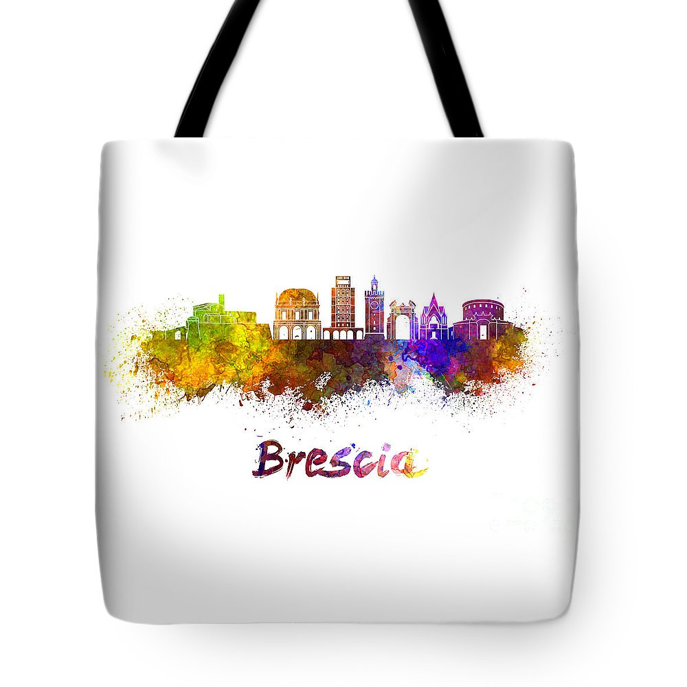 Brescia Tote Bag featuring the painting Brescia Skyline In Watercolor by Pablo Romero