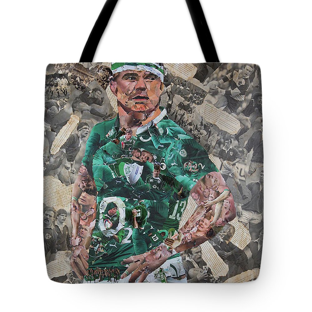 Brian O'driscoll Tote Bag featuring the mixed media Brian O'driscoll Collage by John Kerr