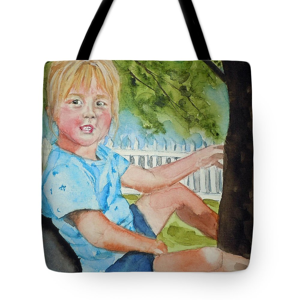 Portrait Tote Bag featuring the painting Brianna In Tree by Jean Blackmer
