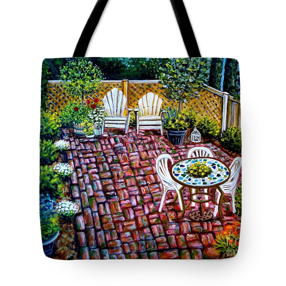 Landscape Tote Bag featuring the painting Brickwork by Elizabeth Robinette Tyndall