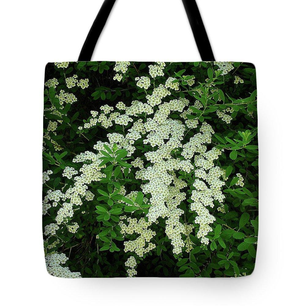 Bridal Wreath Tote Bag featuring the photograph Bridal Wreath by Shirley Heyn