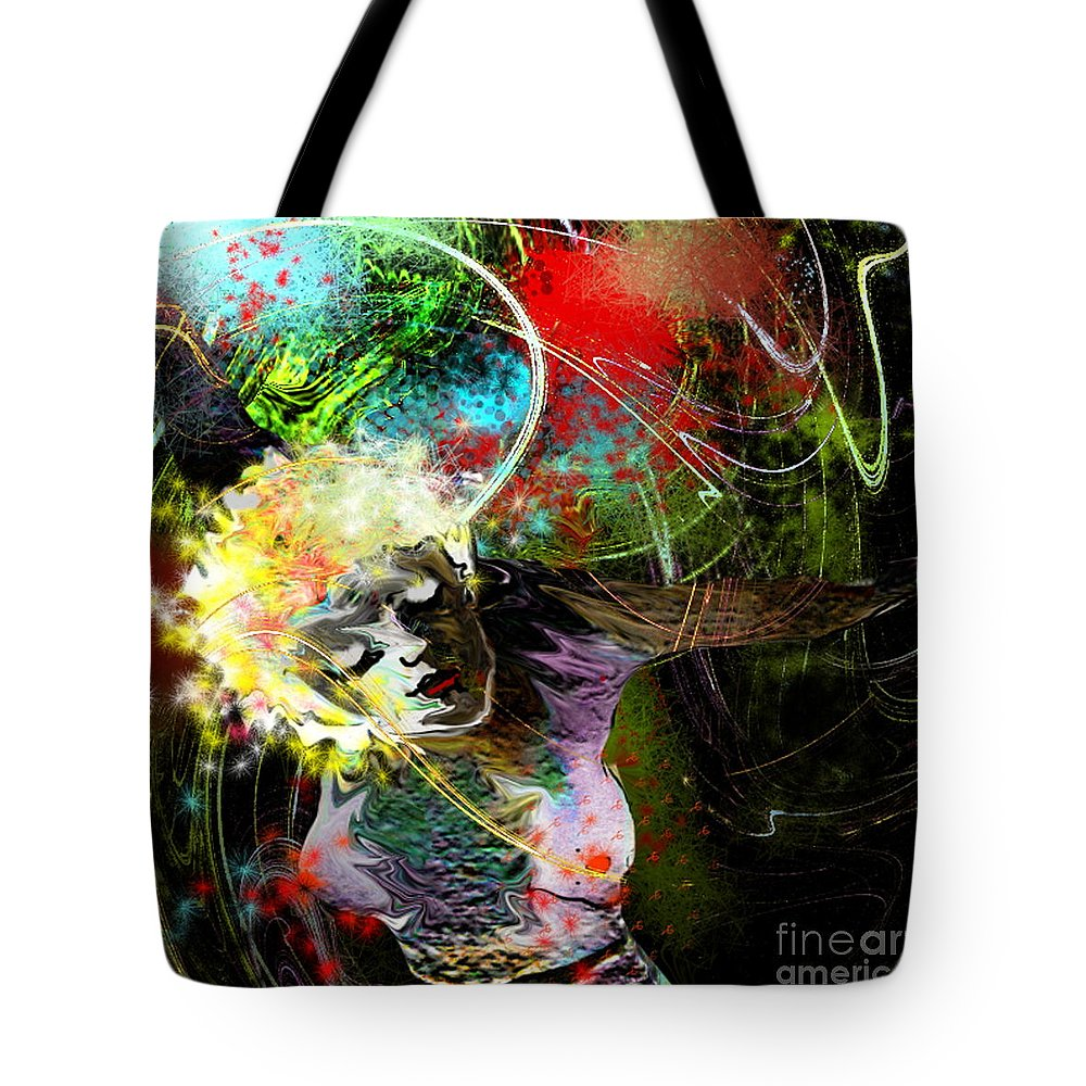 Fantasy Tote Bag featuring the painting Bride Of Halos by Miki De Goodaboom