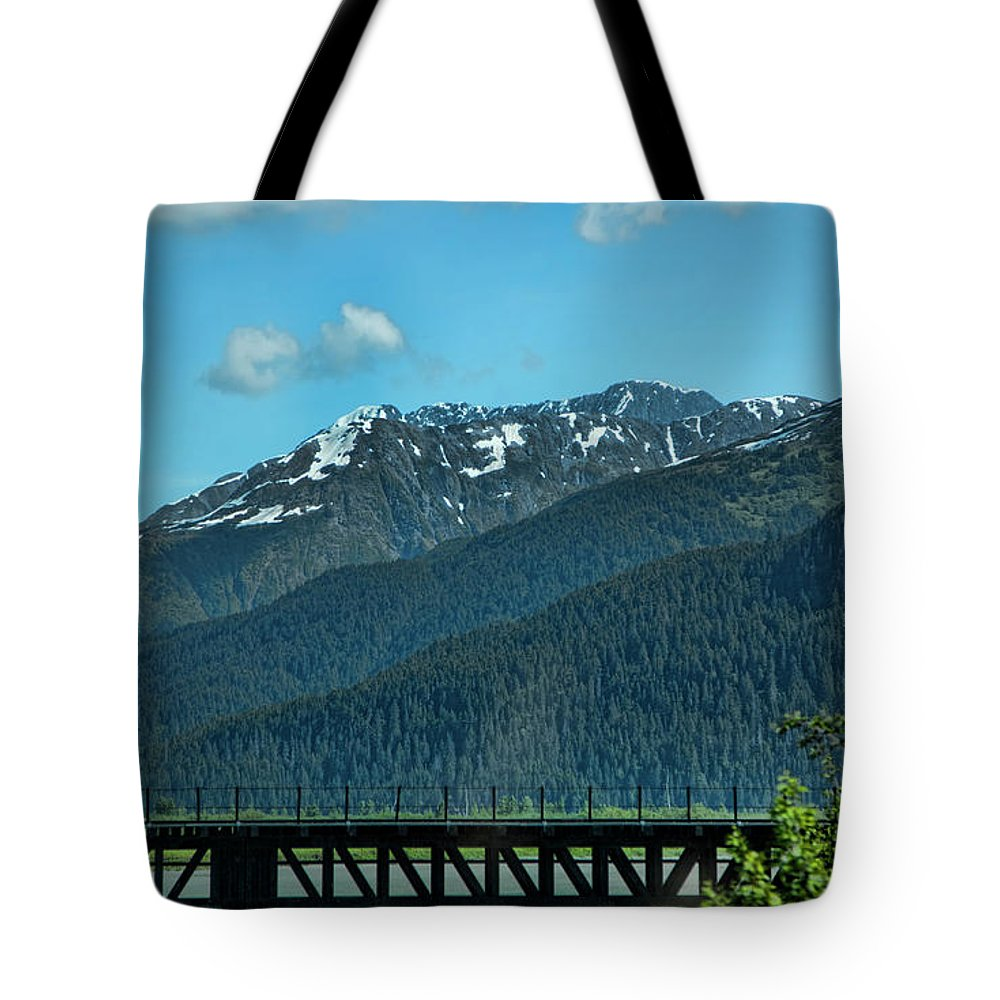 Alaska Tote Bag featuring the photograph Bridge Alaska Rail by Chuck Kuhn