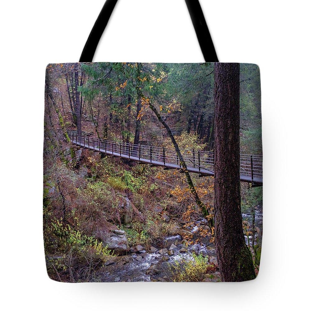 Bridge Tote Bag featuring the photograph Bridge At Deer Creek by Robin Mayoff