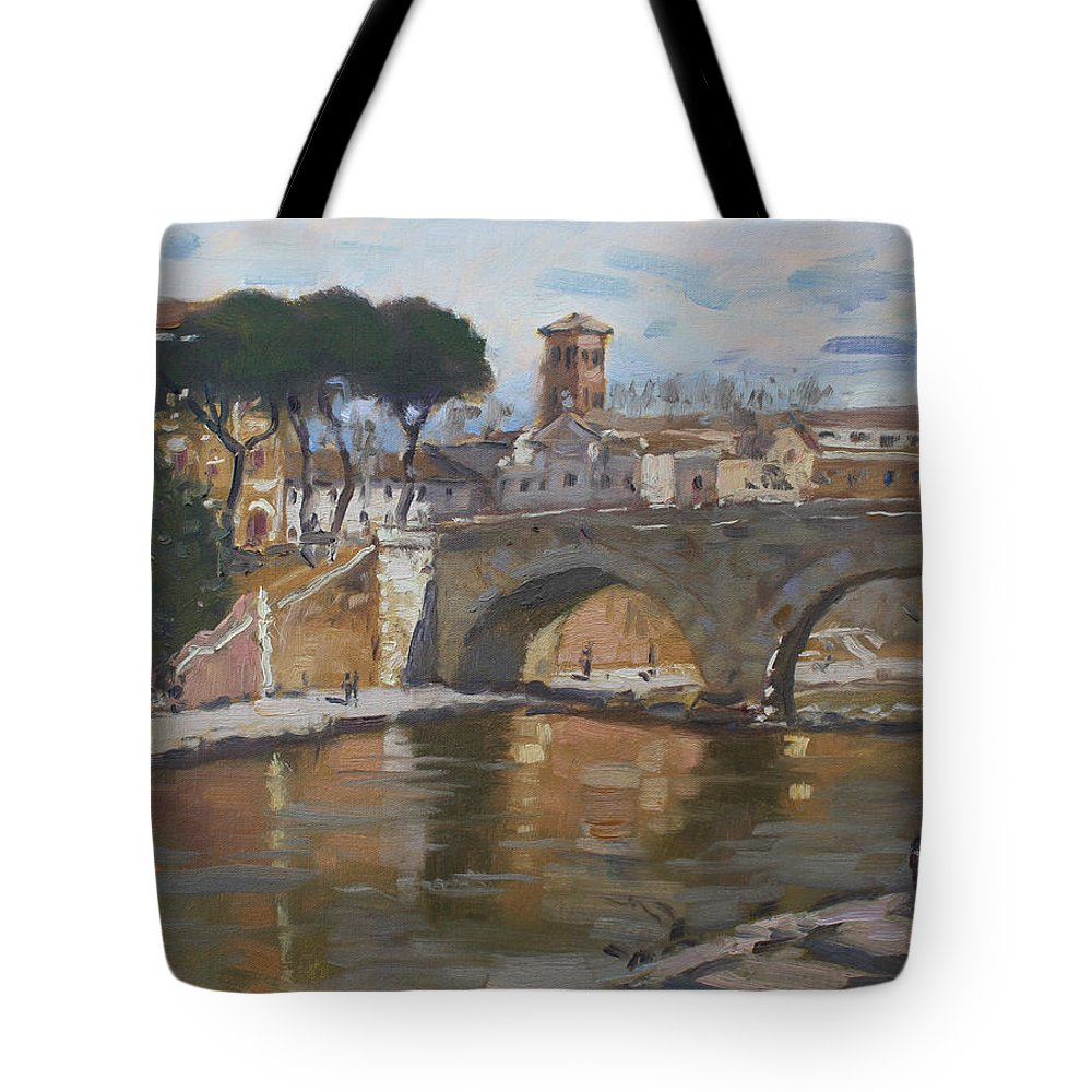 Rome Tote Bag featuring the painting Bridge At Isola Tiberina Rome by Ylli Haruni
