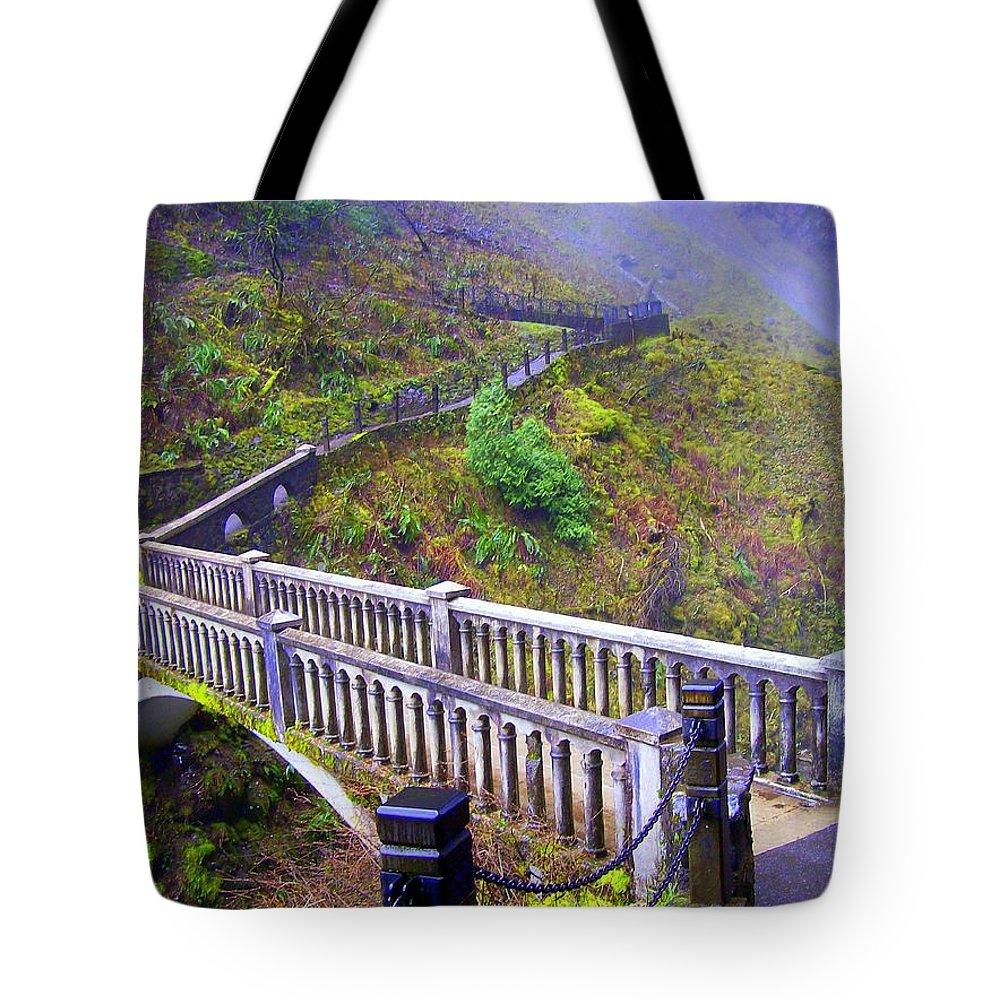 Bridge Tote Bag featuring the photograph Bridge at Multnomah Falls by Lisa Rose Musselwhite