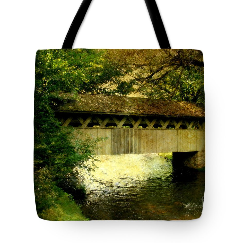 Bridge Tote Bag featuring the photograph Bridge At Red Mill by Joel Witmeyer