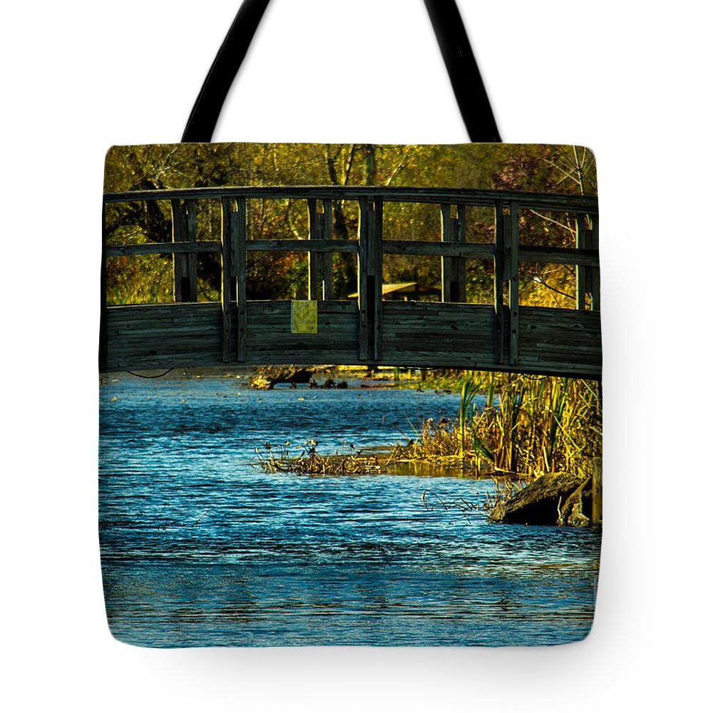Architectural Tote Bag featuring the photograph Bridge For Lovers by Michael Goodin