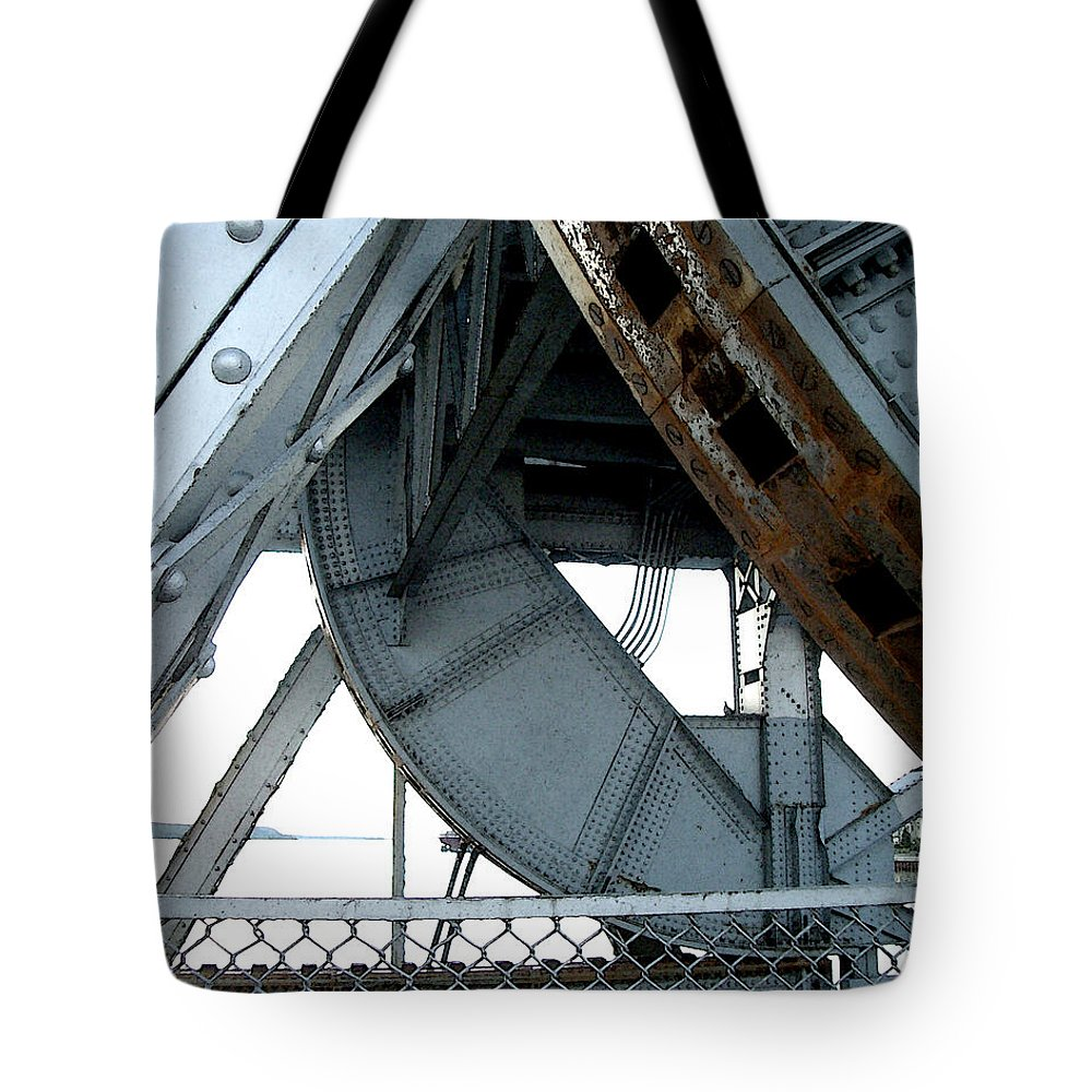 Steel Tote Bag featuring the photograph Bridge Gears by Tim Nyberg