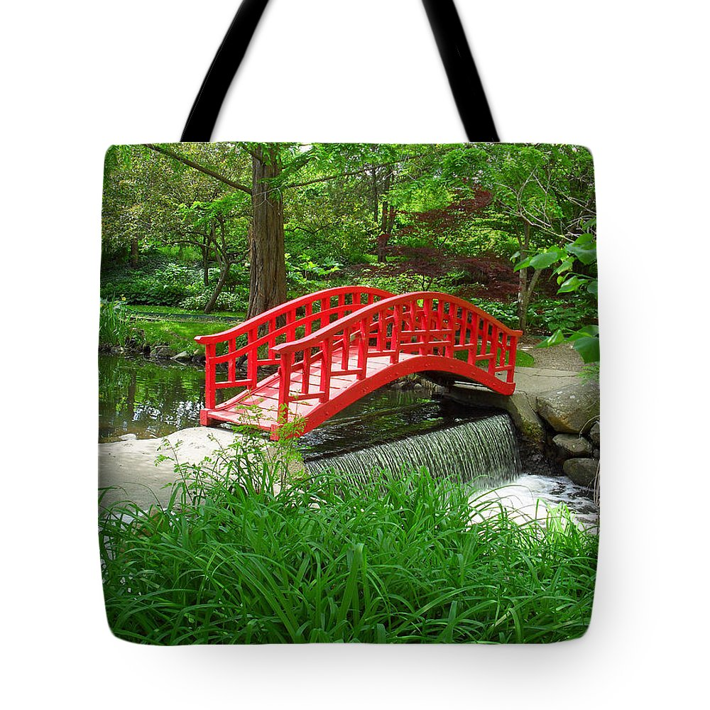 Bridge Tote Bag featuring the photograph Bridge In The Woods by Rodney Campbell
