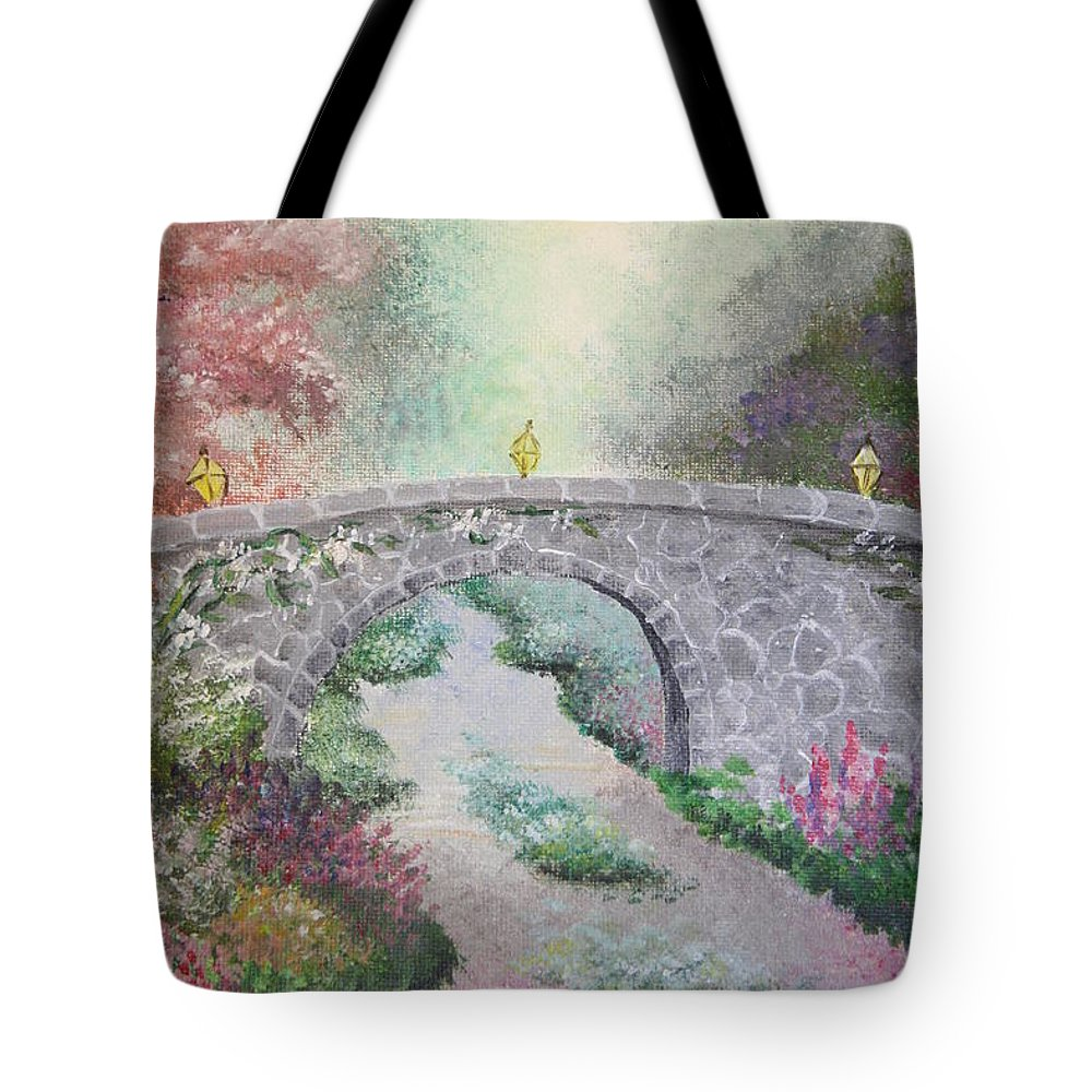 Bridge Tote Bag featuring the painting Bridge by Melissa Wiater Chaney