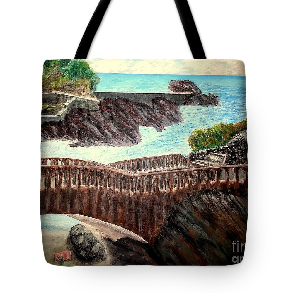 Biarritz Tote Bag featuring the painting Bridge On The Beach In Biarritz by Irving Starr