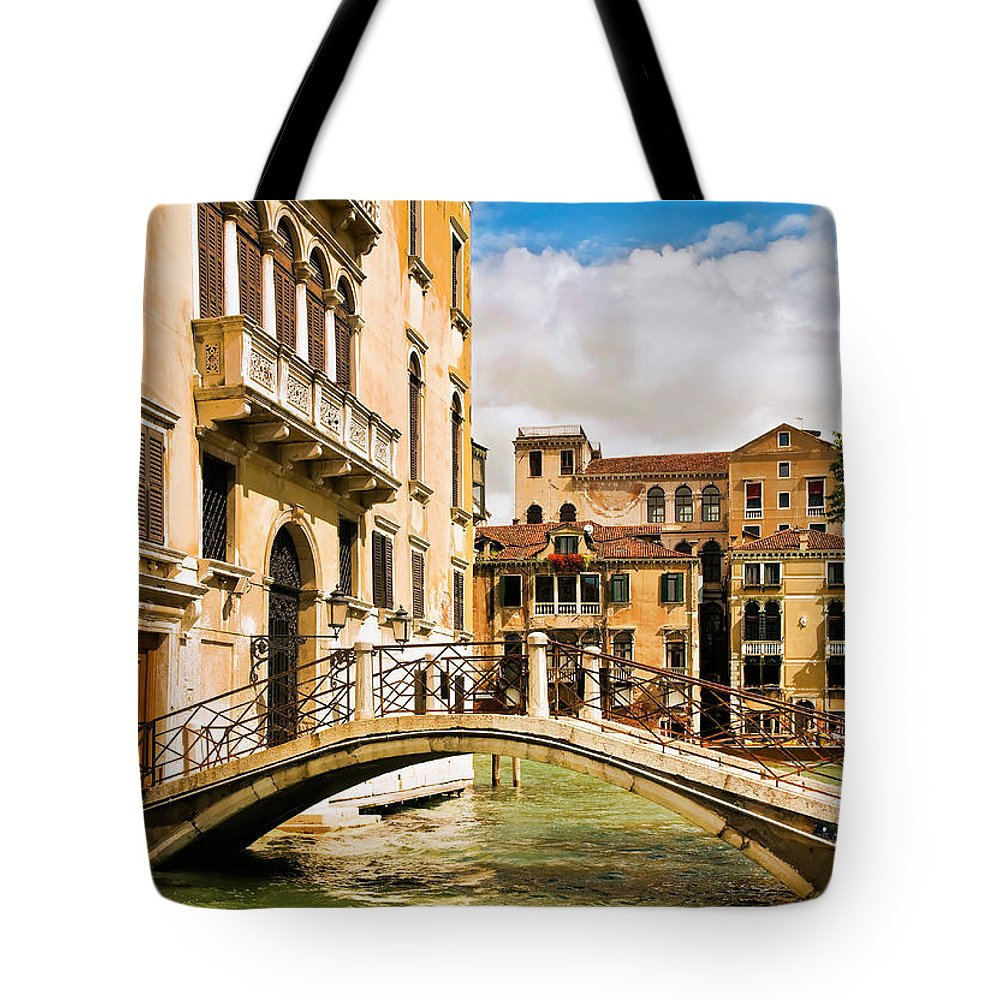 Venice Tote Bag featuring the photograph Bridge On The Canal by Mick Burkey