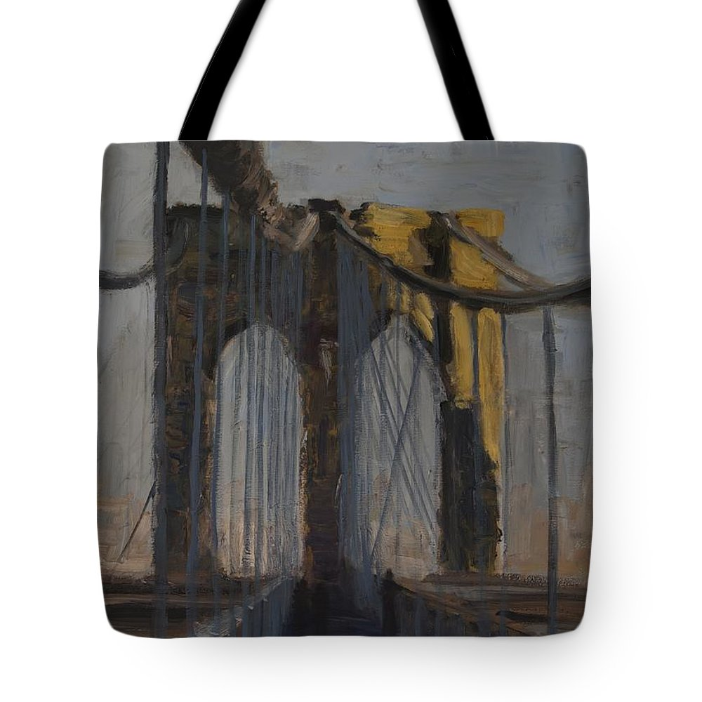 Cityscape Tote Bag featuring the painting Bridge One by Gail Eisenfeld