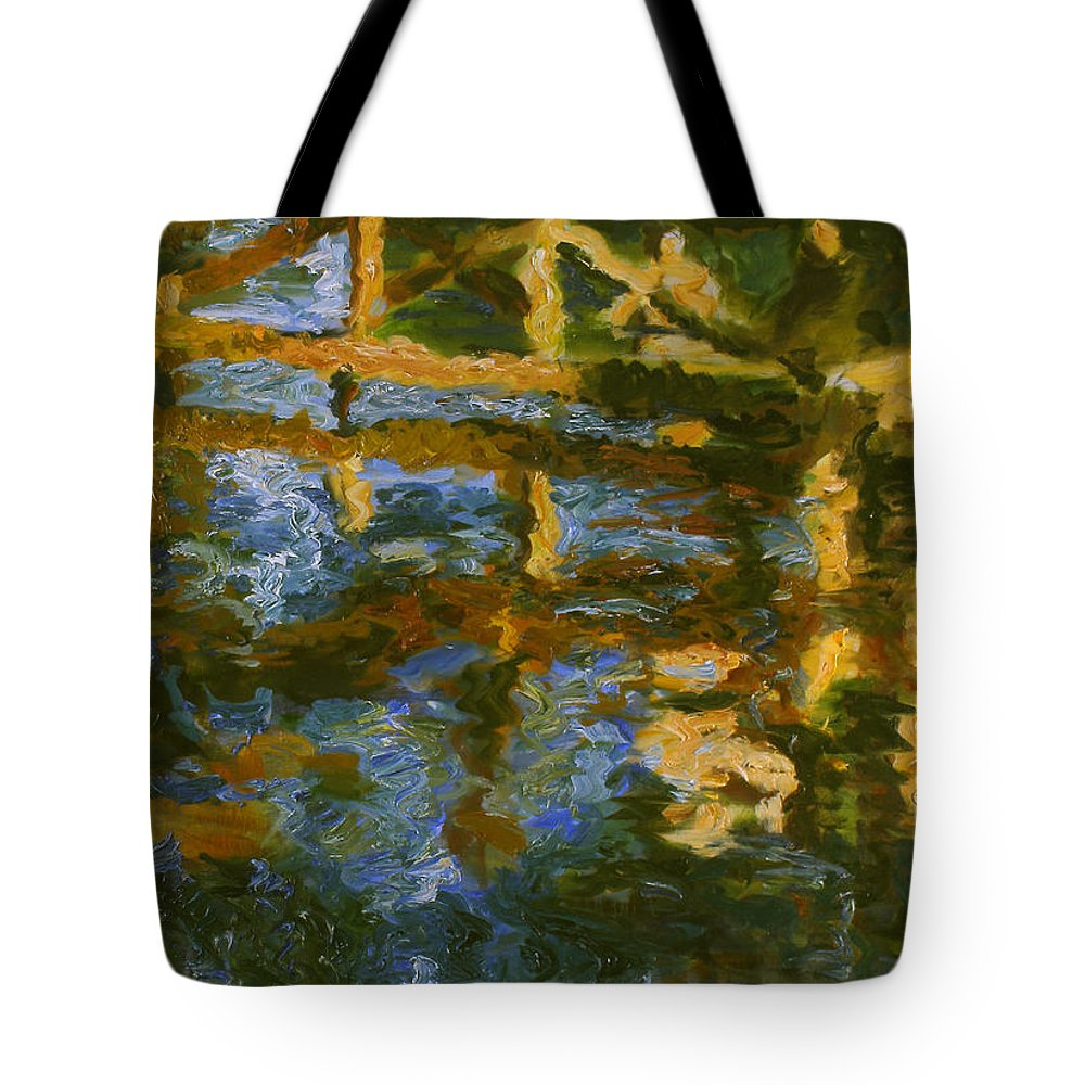 Landscape Tote Bag featuring the painting Bridge by Robert Nizamov